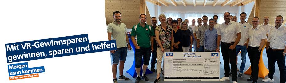 Ausschüttung Gewinnsparfonds 2016 an Städte und Gemeinden im Geschäftsgebiet der Volksbank Ermstal-Alb eG